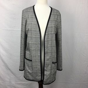 Max Studio Hounsdtooth Plaid Open Cardigan